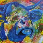 """""""Blue Bull"""" 80 x 80 cm. Sold"""