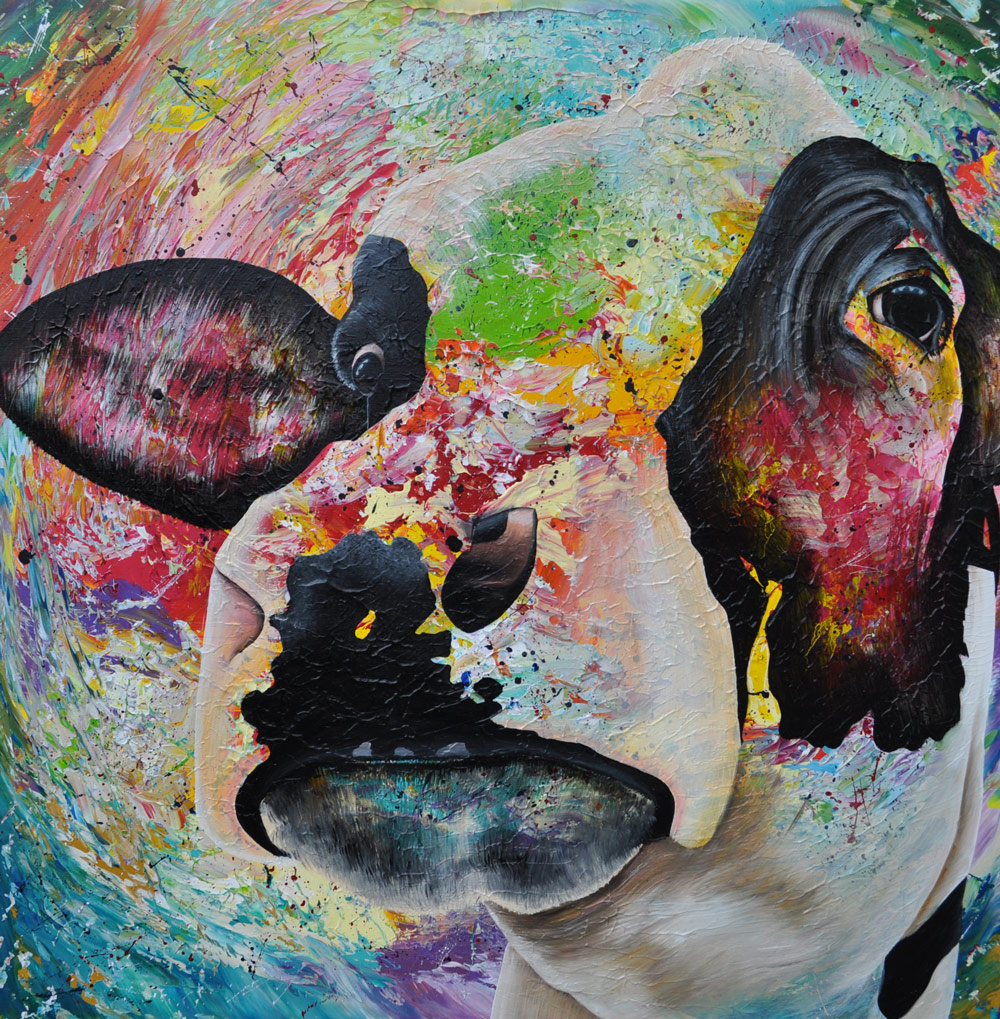 """""""Cow"""" 100 x 100 cm Sold"""