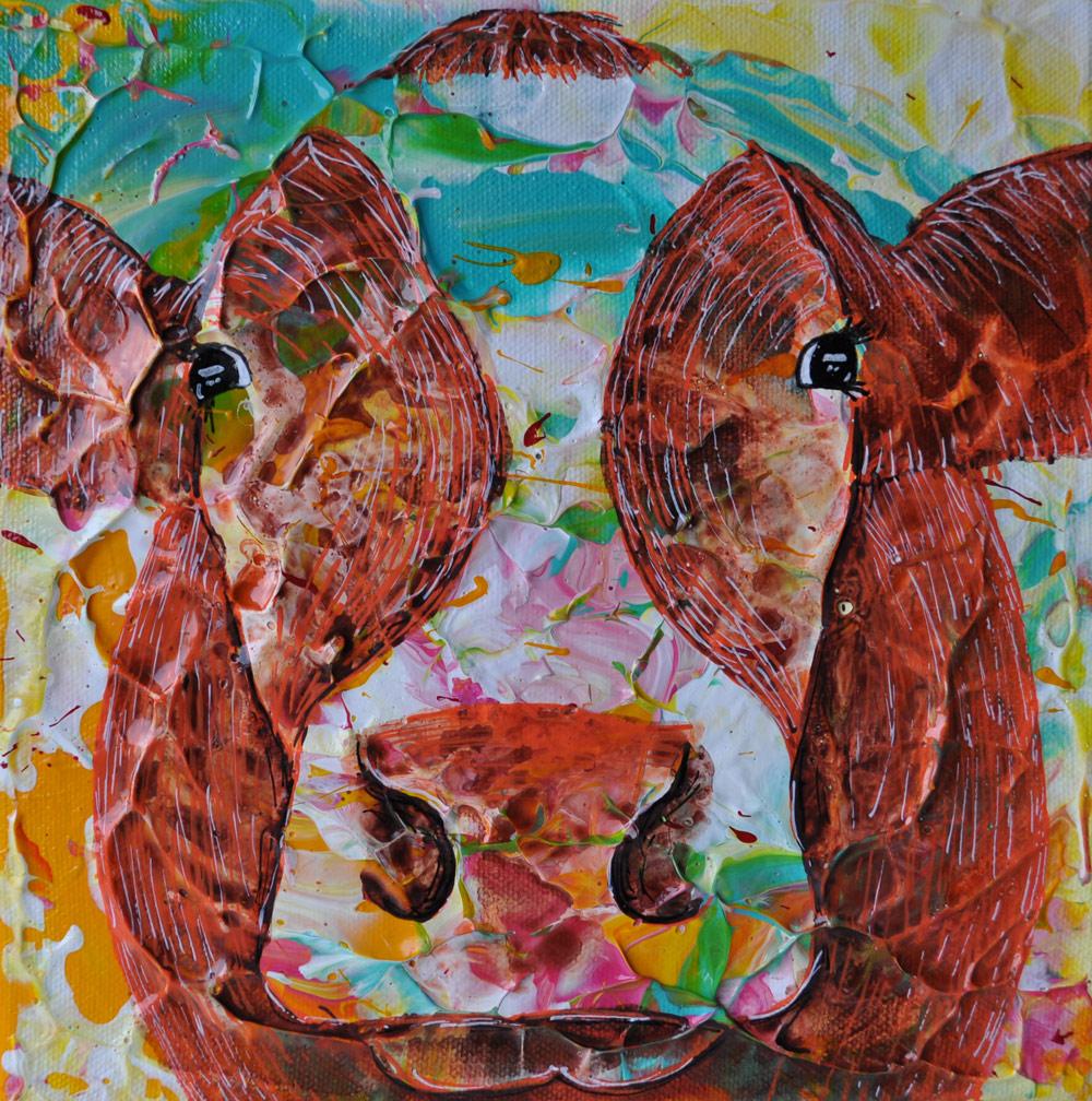 """""""Cow#11.01"""" 20 x 20 cm € 50,-"""
