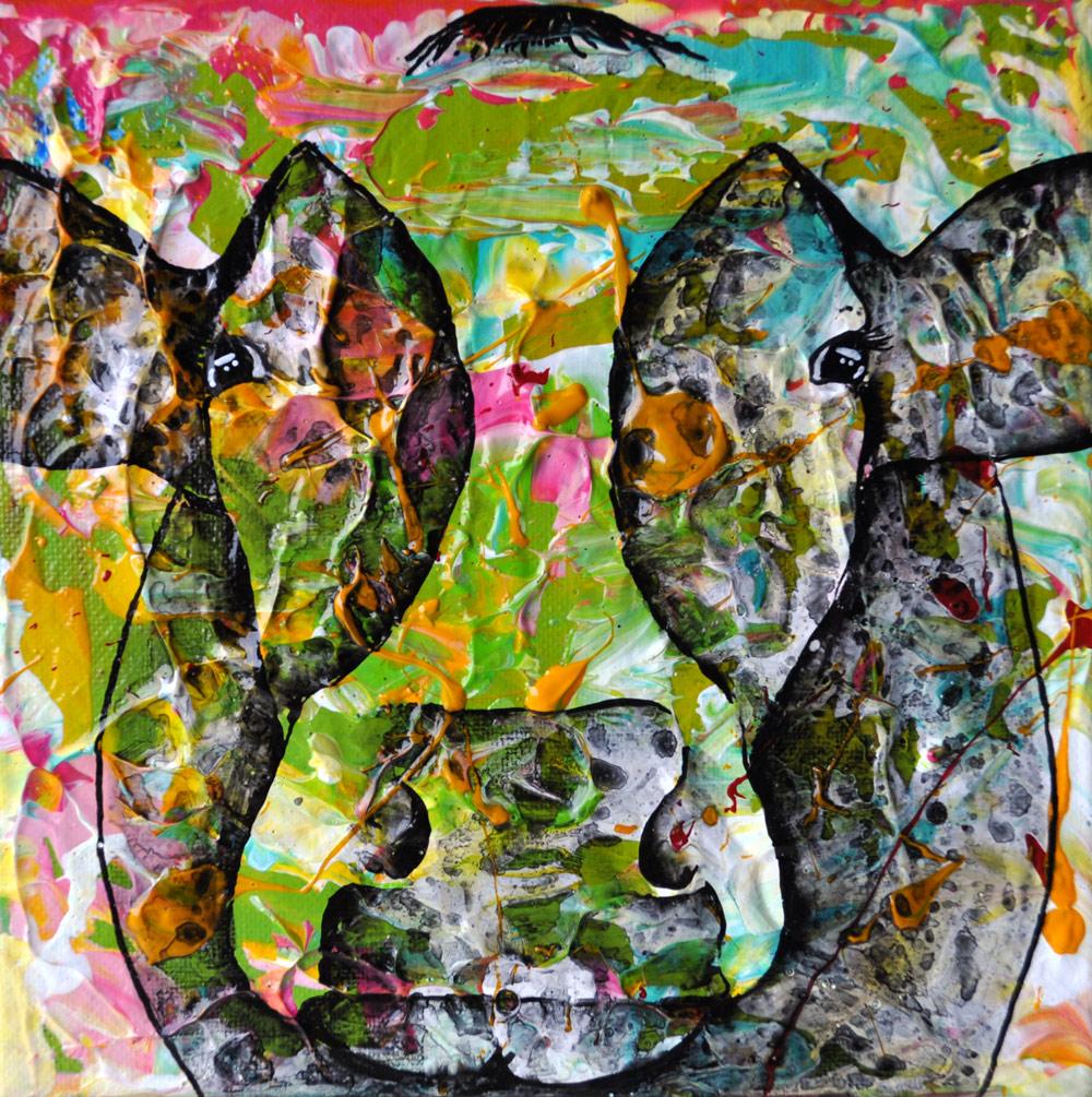 """""""Cow#11.02"""" 20 x 20 cm € 50,-"""