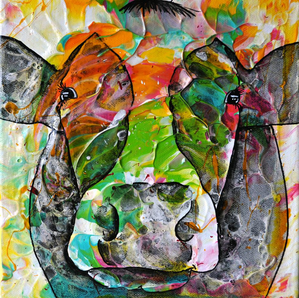 """""""Cow#11.03"""" 20 x 20 cm € 50,-"""