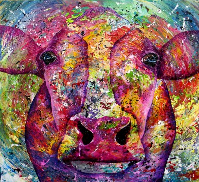 """Cow#015"" 80 x 80 cm. Sold"